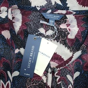 Lucky Brand Tops - NEW LUCKY BRAND Floral Sheer Layered Blouse MEDIUM